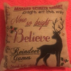 Burlap Christmas pillow